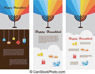 tarjetas, infographics, conjunto, tres, hanukkah