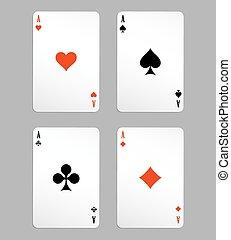 tarjetas, juego, as
