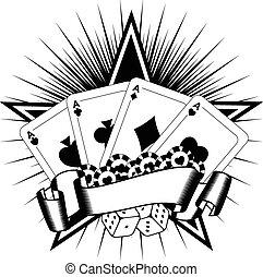 tarjetas, pedacitos, dados que juegan