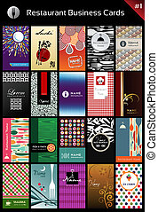 tarjetas, variedad, plantilla, empresa / negocio, restaurante
