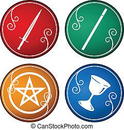 tarot, símbolo, conjunto