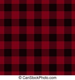 tartán, negro, tela, plano de fondo, rojo