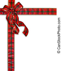 tartán, presente, navidad, plano de fondo, arco