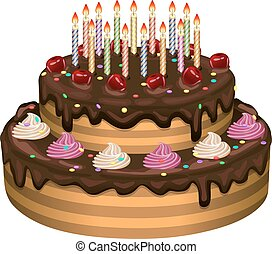 Tarta de cumpleaños en un fondo blanco. Ilustración de vectores.
