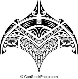 Tatuaje étnico polinesiano para el área de bíceps