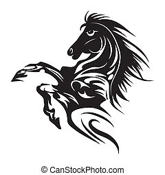 tatuaje, caballo, emblema, símbolo, aislado, o, diseño, logotipo, blanco, template.