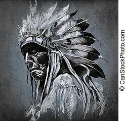 tatuaje, cabeza, encima, oscuridad, indio americano, plano de fondo, retrato, arte