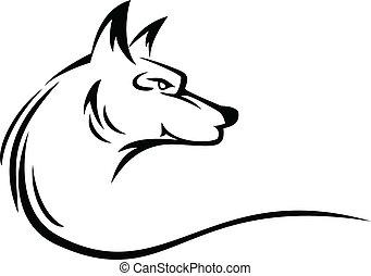 tatuaje, cabeza, lobo