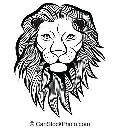 tatuaje, cabeza, t-shirt., bosquejo, ilustración, león, vector, animal, design.
