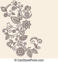 tatuaje, cachemira, vector, alheña, vides