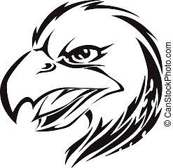 Tatuaje de cabeza de águila, grabado antiguo.