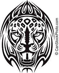 Tatuaje de cabeza de león, grabado vintage.