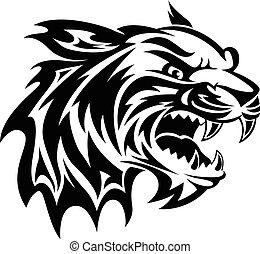 Tatuaje de cabeza de tigre, grabado vintage.