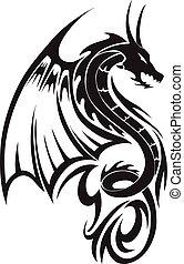 Tatuaje de dragón volador, grabado.