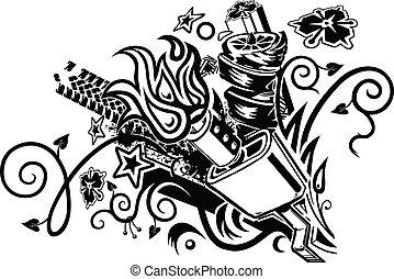 Tatuaje de explosión de Muffler