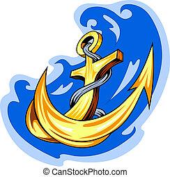 Tatuaje de marinero, ancla en el agua