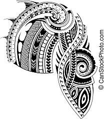 tatuaje, estilo, maorí, manga, plantilla