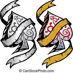 tatuaje, estilo, palas, as, ilustración, vector