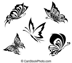 tatuaje, mariposas, negro, blanco