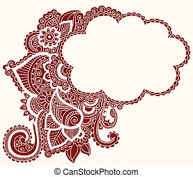 tatuaje, mehndi, alheña, nube, doodles