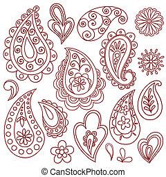 tatuaje, mehndi, alheña, vectors, doodles
