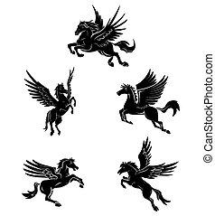 tatuaje, símbolo, caballo, ala