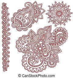 tatuaje, vector, alheña, mehndi, doodles