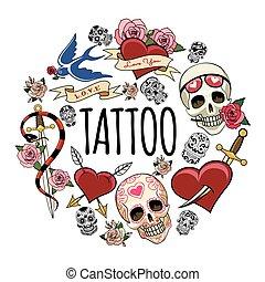 Tatuajes Sketch símbolos de concepto redondo
