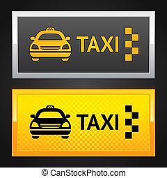 taxi, conjunto, etiqueta