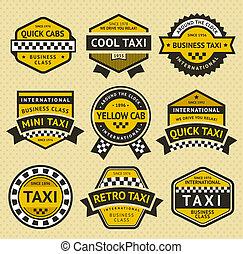 taxi, estilo, conjunto, vendimia, taxi, insignia