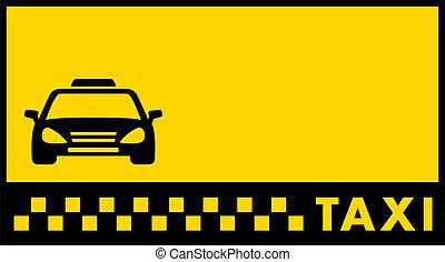 taxi, fondo, tarjeta, visitar