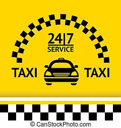 taxi, plano de fondo, coche, símbolo