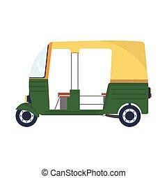 taxi., rickshaw., indio, vector, ilustración
