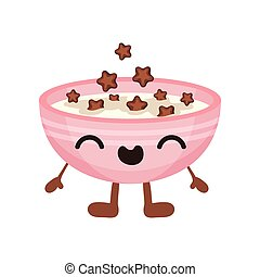 Tazón de leche con dibujos animados de cornflakes con vectores graciosos de ilustración en un fondo blanco