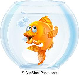tazón de peces dorados, caricatura