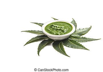 tazón, neem, medicinal, fondo., hojas, pasta, blanco