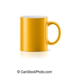 Taza amarilla en blanco