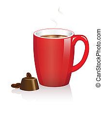 Taza de café y chocolates