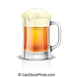 Taza de cerveza aislada en blanco