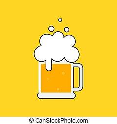 Taza de cerveza con espuma.