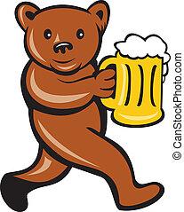 Taza de cerveza de oso corriendo caricatura lateral