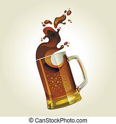 Taza de cerveza negra con salpicadura