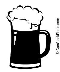 Taza de cerveza negra