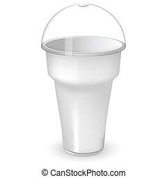 Taza de plástico blanco con capa de cúpula de esfera. Burlarse del contenedor con una tapa. Para malteada y helado y batido o café. Un objeto aislado en el fondo blanco.