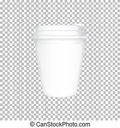 Taza de plástico blanco con tapa