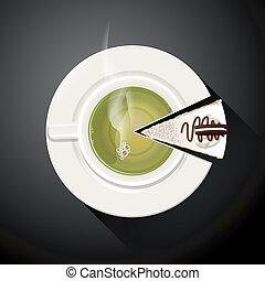 Taza de té verde y rebanadas de pastel