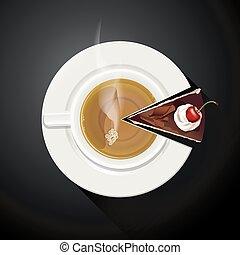 Taza de té y rebanadas de pastel