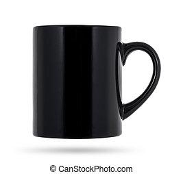 Taza negra para café o té aislado en fondo blanco