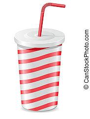 taza, papel, soda