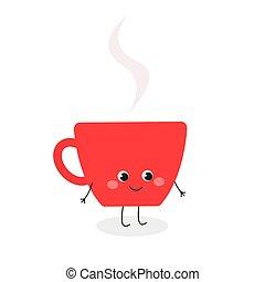 taza para café, carácter, ilustración, caricatura, lindo, vector